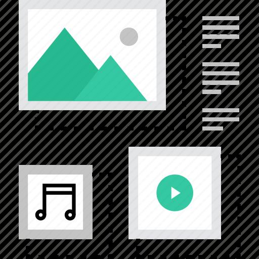 content, files, manage, media, multimedia, organization, web icon