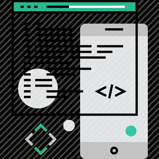 code, coding, development, mobile, programming, script, software icon