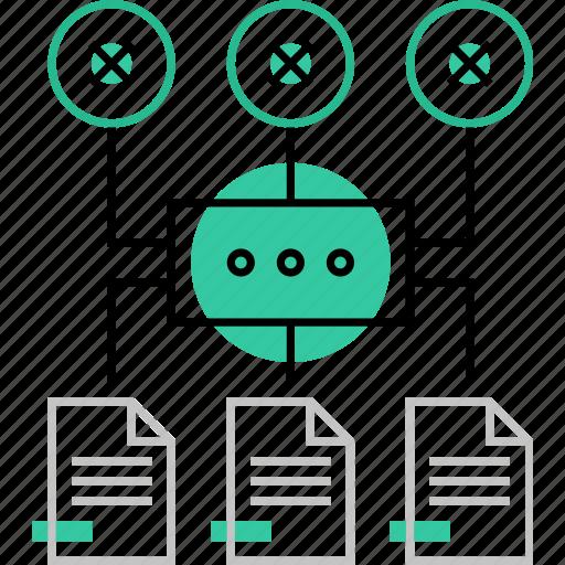 algorithm, docs, network, process, scheme, storage, structure icon