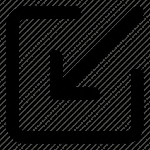 arrow, download, external, link, url, web, website icon