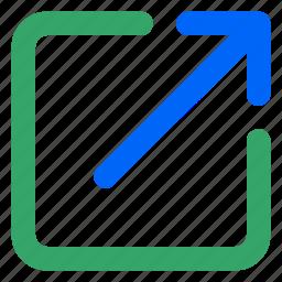 arroow, external, link, upload, url, web, website icon