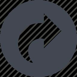arrow, circle, refresh, reload, right arrow icon