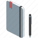 bookmark, notebook, office, pen, professional, work, write icon