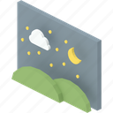 cloud, grass, image, moon, night, picture, stars icon