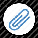 attach, attachment, clip, note, paperclip icon