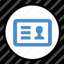 card, id, identification, identity, profile, user icon