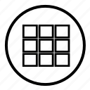 row, shape, spreadsheet, square, table icon