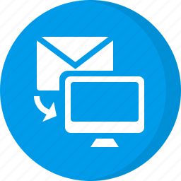 downloading, email, email to computer icon