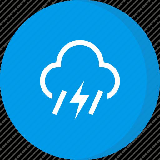 cloud, forecast, lightning, rain, weather icon