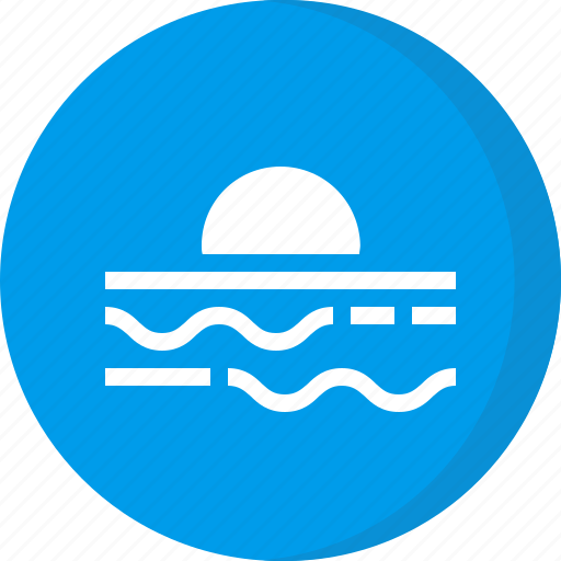 climate, evening, forecast, sunset, wave, weather icon