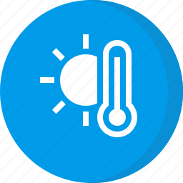 forecast, hot, sunny, temperature, thermometer, weather icon