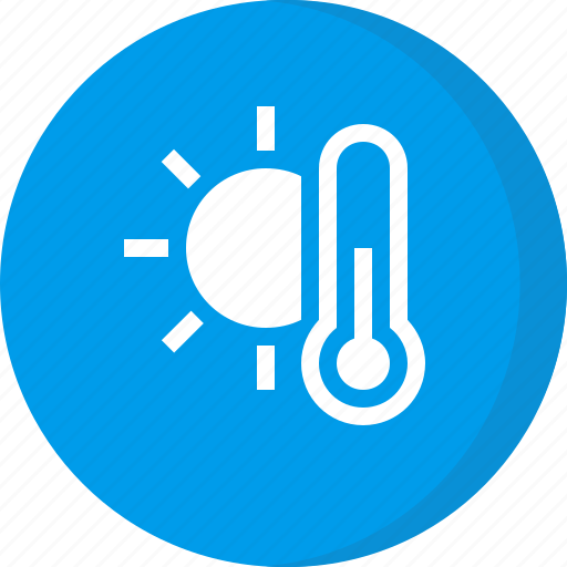 forecast, sunny, temperature, thermometer, weather icon