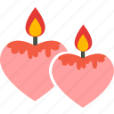 candle, favourite, heart, love, romantic, wedding icon