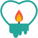 candle, heart, like, shape, sign, valentine, wedding icon