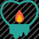 wedding, candle, heart, like, shape, sign, valentine icon