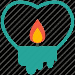 candle, heart, like, shape, sign, valentine, wedding icon