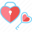 heart, key, lock, love, romantic, valentine, wedding icon