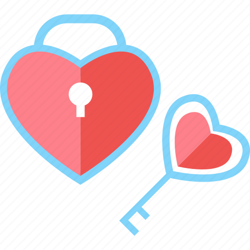 heart, key, lock, love, romantic, valentine, wedding icon