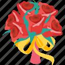 wedding, decoration, flower, ring, rose, valentine, happy icon