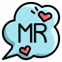 groom, love, man, marriage, ms, text icon