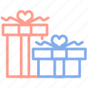 boxes, gifts, marriage, married, present, wedding icon