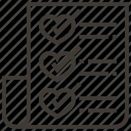 checklist, hearts, love, valentine, wedding icon