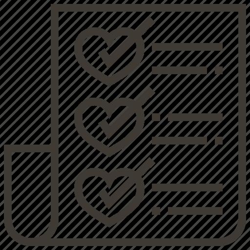 Wedding, checklist, hearts, love, valentine icon
