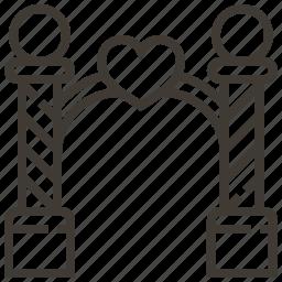 archway, heart, love, wedding icon