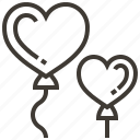 balloons, hearts, love, valentine icon