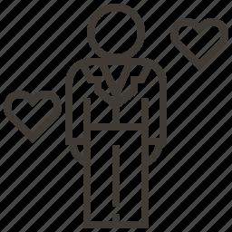 groom, hearts, love, wedding icon