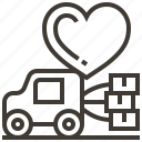 delivery, heart, love, valentine, vehicle, wedding icon