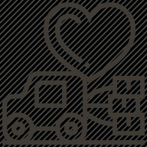 delivery, heart, love, valentine, vehicle, wedding icon