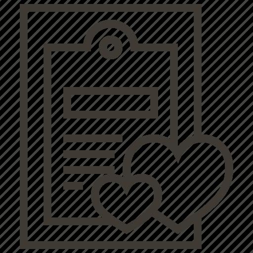 clipboard, hearts, love, valentine icon