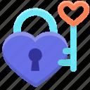 heart, key, lock, love, of, password icon