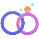 couple, love, marriage, rings, valentine, wedding icon