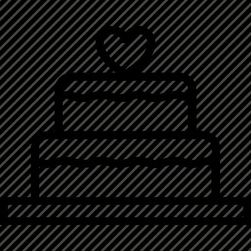 cake, heart, love, marriage, valentine, wedding icon