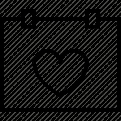 calendar, heart, love, marriage, valentine, wedding icon