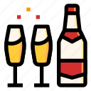 alcohol, bottle, champagne, drink, wedding icon