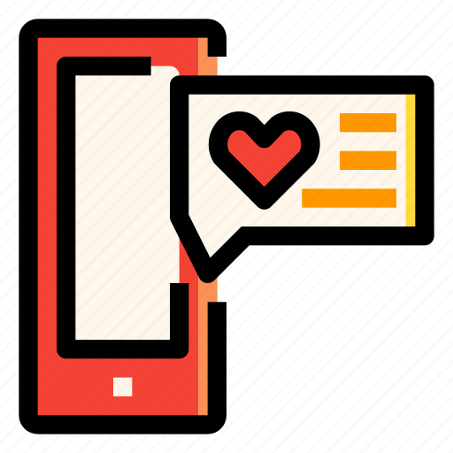 box, chat, heart, love, smartphone, wedding icon