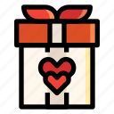 box, gift, heart, love, present, valentines, wedding icon