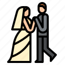 bride, dancing, groom, wedding icon