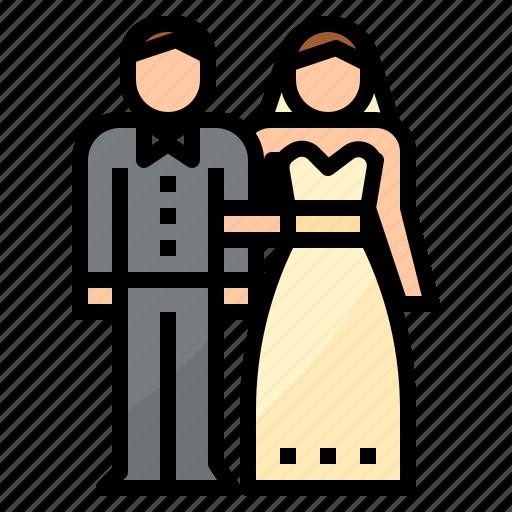 bride, groom, love, married, wedding icon