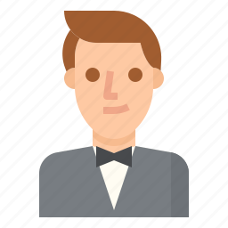 formal, groom, man, suit, wedding icon
