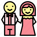 love, romantic, couple, groom, bride, wedding icon