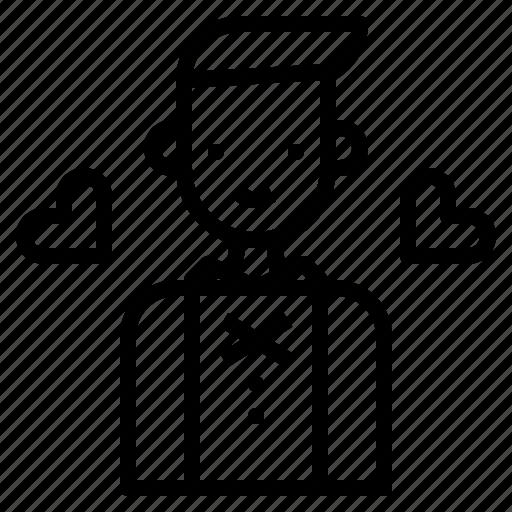 Groom, formal, wedding, man, suit icon