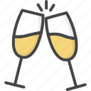 champagne, colored, glasses, holidays, wedding icon