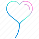 balloon, baloon, heart, love, party, romance, scribble icon