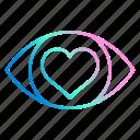 eye, heartlove, see, vision, wedding icon