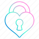heart, lock, love, romance, wedding icon