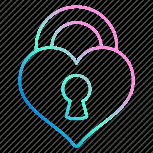 heart, lock, love, romance, wedding icon